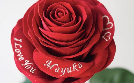 メッセージフラワー人気No.1赤バラ(春限定・ハート刺繍)